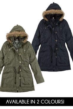 Womens Military Style Parka Jacket With Faux Fur Hood in sizes 8-16